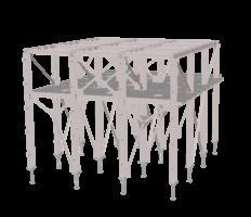 Stahlkonstruktion silo 3D transparant