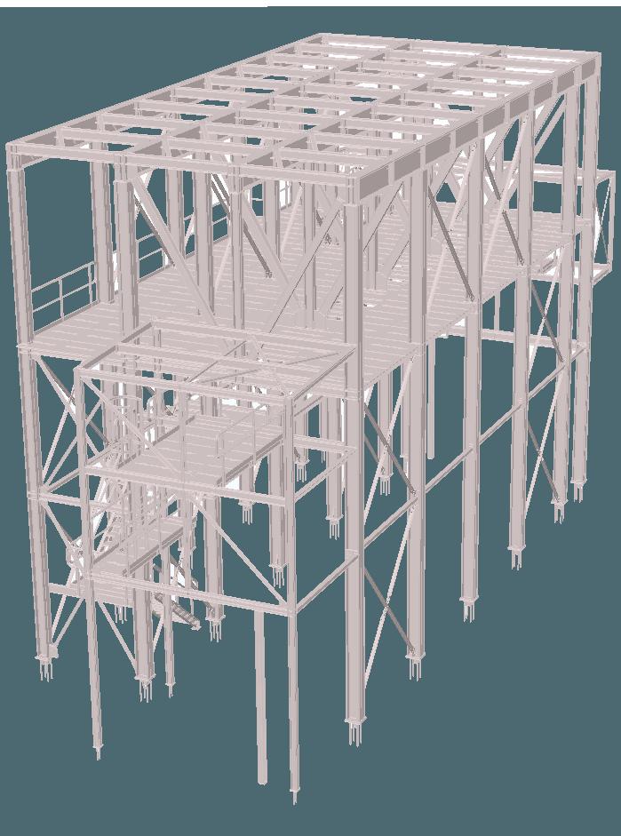 Staalconstructie 3D vierkante silo