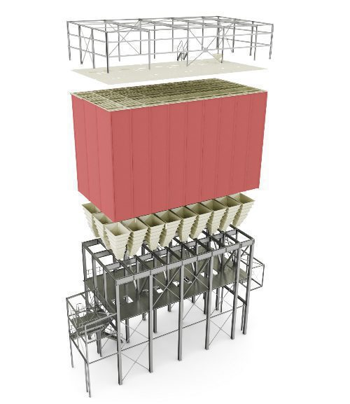 square silo - 3D render view